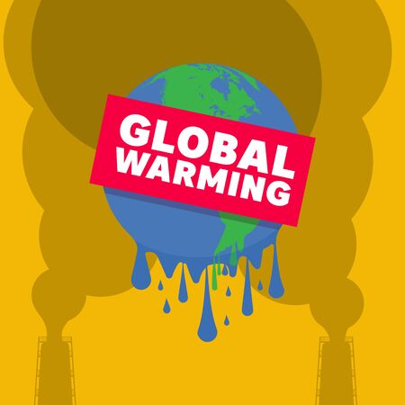 Graphic illustration of a melting earth. Concept for stop global warming. Banco de Imagens - 131801826