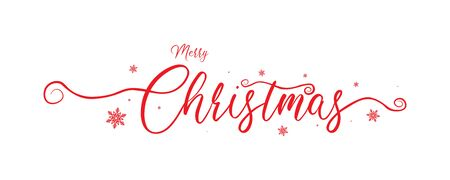 Merry christmas red calligraphy to winter holiday design with snowflake design, vector illustration.