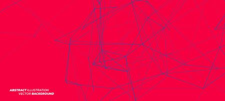 3D Blue Abstract Mesh on Red Background with Circles, Lines and Shapes | EPS10 Design Layout for Your Business Ilustracja