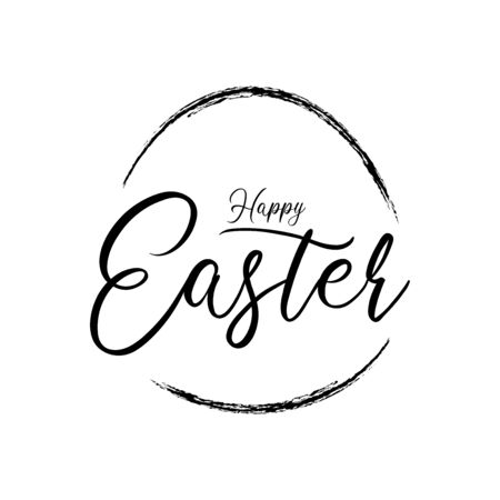 Black and White Happy Easter Calligraphic Vector Ilustracja