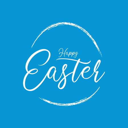 Blue Happy Easter Calligraphic Vector