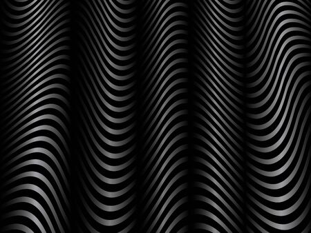 Black and White Wavy Lines Vector Background for Decorative Print