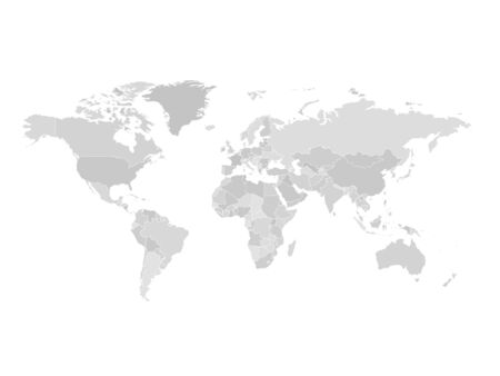 High detailed world map in gray colors on white background. Perfect for backgrounds, backdrop, business concepts, presentation, charts and wallpapers. Ilustracja