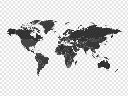 High detailed world map in gray colors on transparent background. Perfect for backgrounds, backdrop, business concepts, presentation, charts and wallpapers. Ilustracja