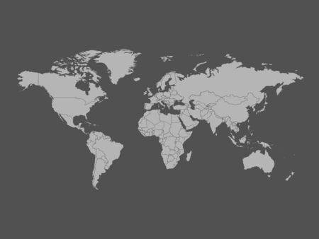 High detailed world map in gray color on dark background. Perfect for backgrounds, backdrop, business concepts, presentation, charts and wallpapers.