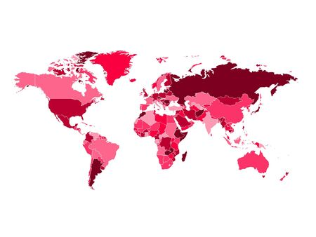 High detailed colorful pink world map on white illustration vector background. Perfect for backgrounds, backdrop, business concepts, presentation, charts and wallpapers.