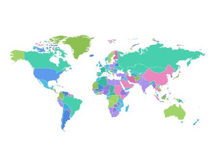 High detailed colorful world map on white illustration vector background. Perfect for backgrounds, backdrop, business concepts, presentation, charts and wallpapers. Ilustracja