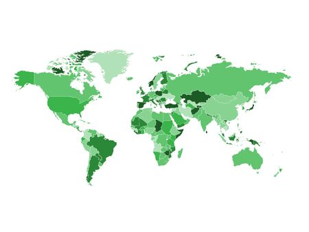 High detailed colorful green world map on white illustration vector background. Perfect for backgrounds, backdrop, business concepts, presentation, charts and wallpapers. Ilustracja
