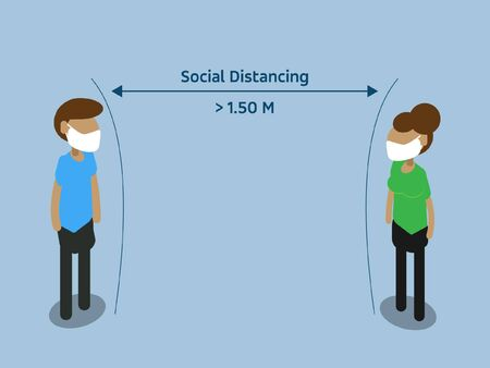 Social distancing concept people standing away to prevent COVID-19 coronavirus disease