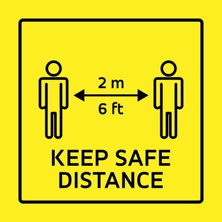 Safety measure keep safe distance sign, coronavirus pandemic precaution vector illustration