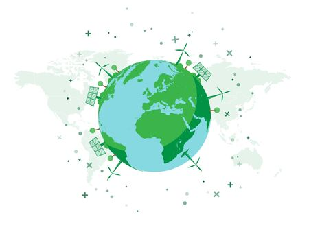 Green Environment on Earth. Design Concept for Green Future. Wind Powers and Solar Panels on Earth Globe. Vector Illustration