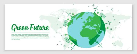 Green Environment on Earth. Banner Design Concept for Green Future. Wind Powers and Solar Panels on Earth Globe. Vector Illustration