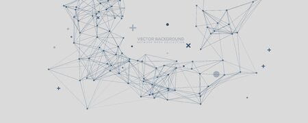 Blue Abstract Network Mesh with Your Text. Geometric connected line and dots. Wide Technology Gray Vector Background