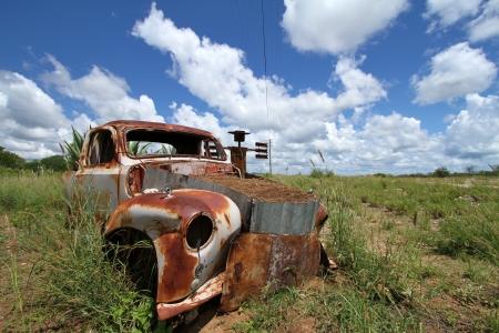 old car in the desert photo