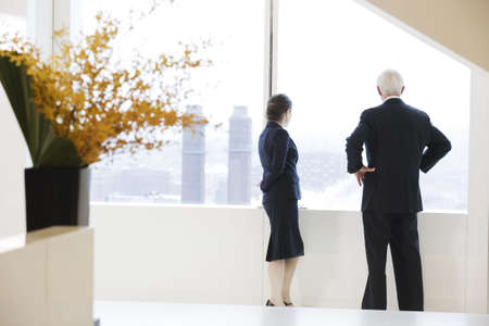 View of businesspeople standing near a window. LANG_EVOIMAGES