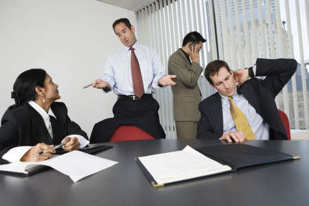 View of businesspeople in an office meeting. Stock Photo