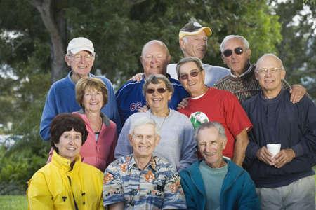 senior women: Portrait of a group of senior men and senior women. Horizontally framed shot. Stock Photo