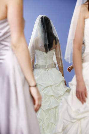 bridesmaids: View of bride with bridesmaids. Stock Photo