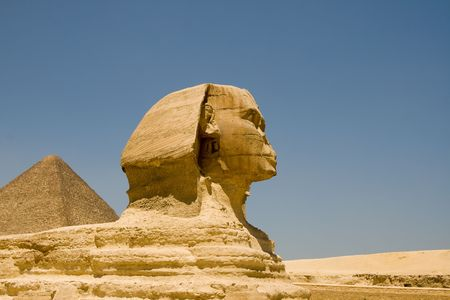Sphinx of Giza and the Pyramid Stock Photo