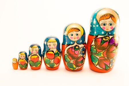 matrioska: Six matrioska isolated on white Stock Photo