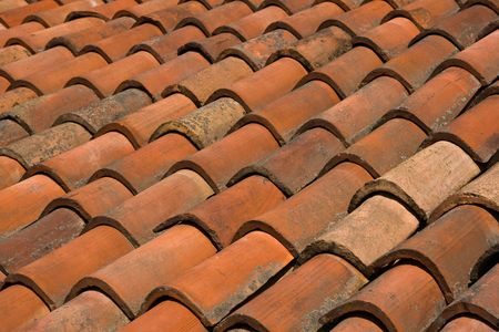A clay tiled roof in Italy.