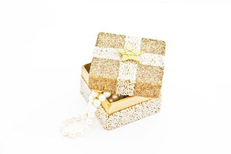 A cute box with some jewelry inside Stock Photo