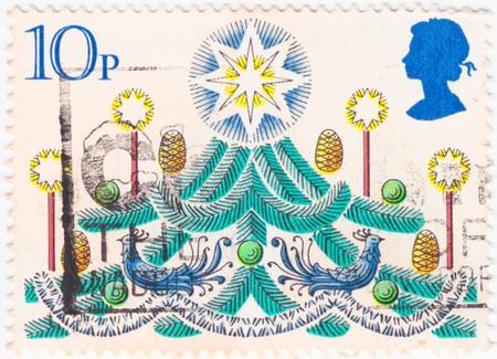 A stylized Christmas tree stamp