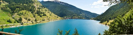 A panoramic view of the lake of Pontechienale - Italy EU Stock Photo