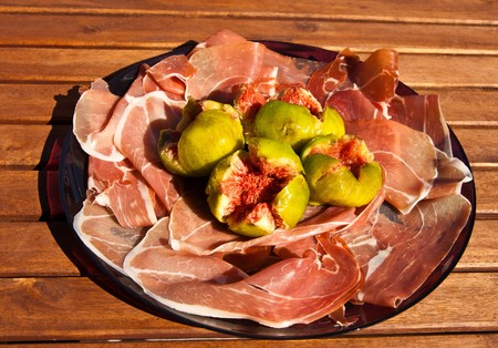 Gorgeous raw ham with fresh figs