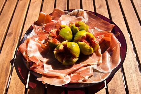 Gorgeous raw ham with fresh figs