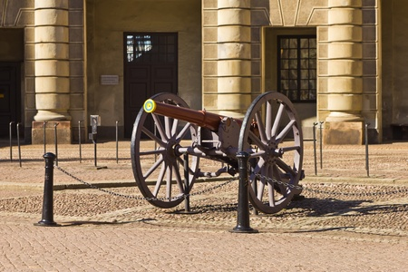Ancient Swedish ceremonial Howitzer near to the Royal House. Stock Photo