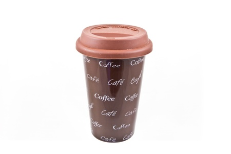A brown mug isolated on a white background