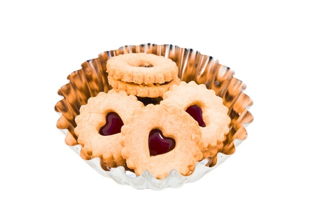 Linzer Cookies with Heart Shape Window photo