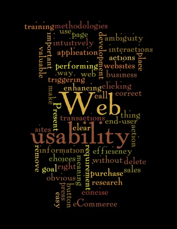 Word Cloud Illustration of Web Usability on black Stock Illustration - 12376137