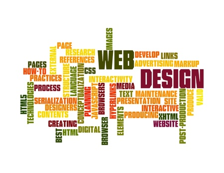 Word Cloud Illustration of Web Design on white Stock Illustration - 12376139