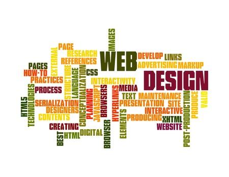 Word Cloud Illustration of Web Design on white Stock Illustration - 12376139