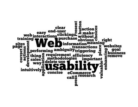 interactions: Word Cloud Illustratie van Web Usability op wit