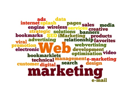 dienstverlening: Word Cloud Illustratie van Web Marketing op wit