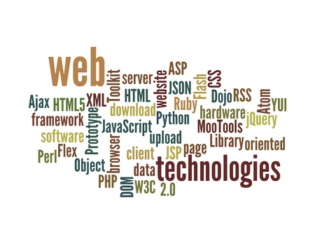 w3c: Word Cloud Illustration of Web Technology on white