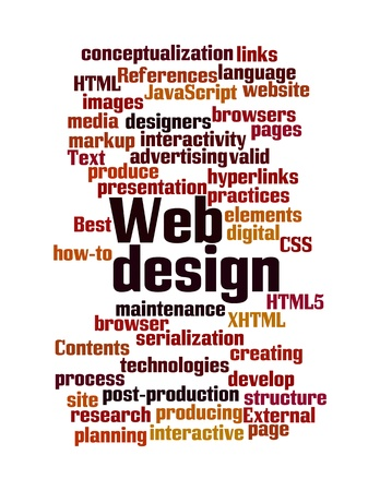 Word Cloud Illustration of Web Design on white
