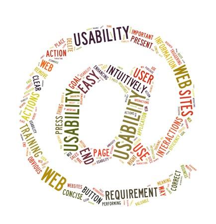 Word Cloud Illustration of Web Usability on white Stock Illustration - 12730850