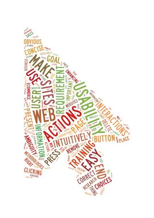 Word Cloud Illustration of Web Usability on white Stock Illustration - 12730851