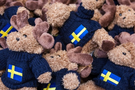 Many soft toys with Swedish flag