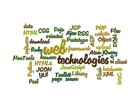 yui: Word Cloud Illustration of Web Technology on white