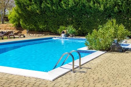 Swimming pool and lush vegetation