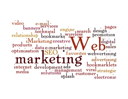 banner ads: Word Cloud Illustration of Web Marketing on white Stock Photo