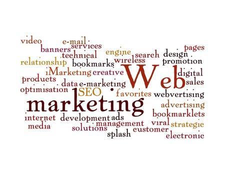 Word Cloud Illustration of Web Marketing on white Stock Photo