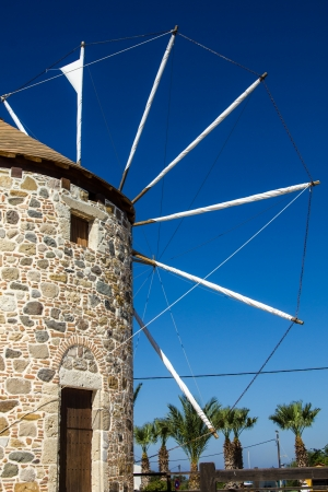 Ancient wind-mill in Antimahia in the south Sporades, Greece