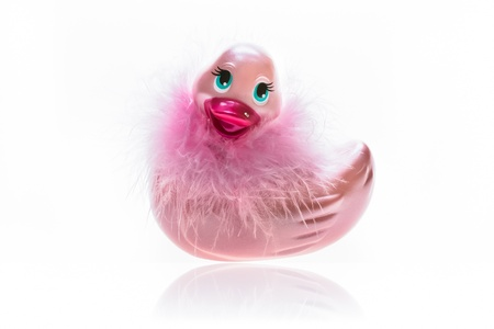 rubber duck: Rubber duckling toy with fashion feathers
