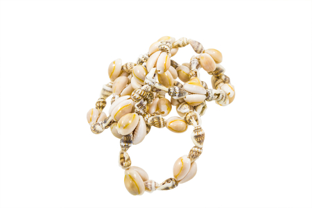 Seashell necklace close up isolated on white